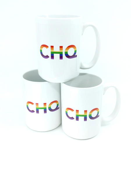 three white mugs stacked in a pyramid, each with CHQ printed in rainbow effect.